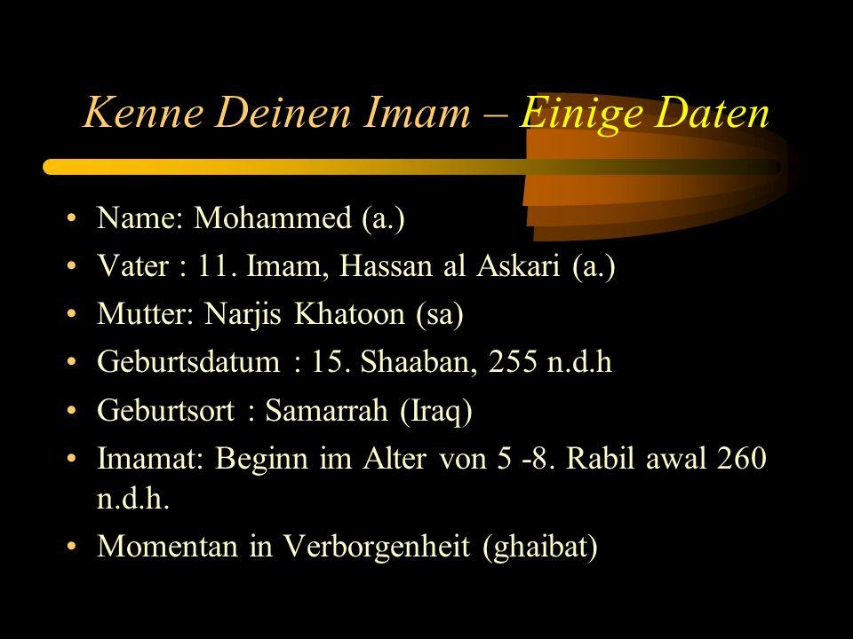 Kenne Deinen Imam atfs- Unsere Pflichten und Aufgaben Erkennung Imam Mahdis (a.t.f.s), es bedeutet die Perfektion und Authorität Imam Mahdis erkannt zu haben, welche ihm durch Allah swt gegeben wurde.