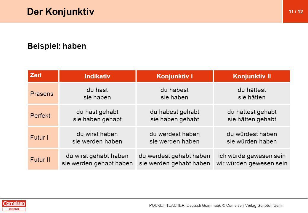 Beispiel: haben POCKET TEACHER Deutsch Grammatik © Cornelsen Verlag Scriptor, Berlin Der Konjunktiv Zeit IndikativKonjunktiv IKonjunktiv II Präsens du