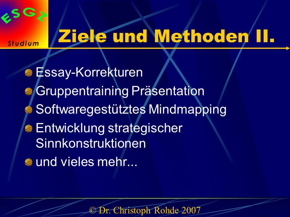 Ziele und Methoden II.