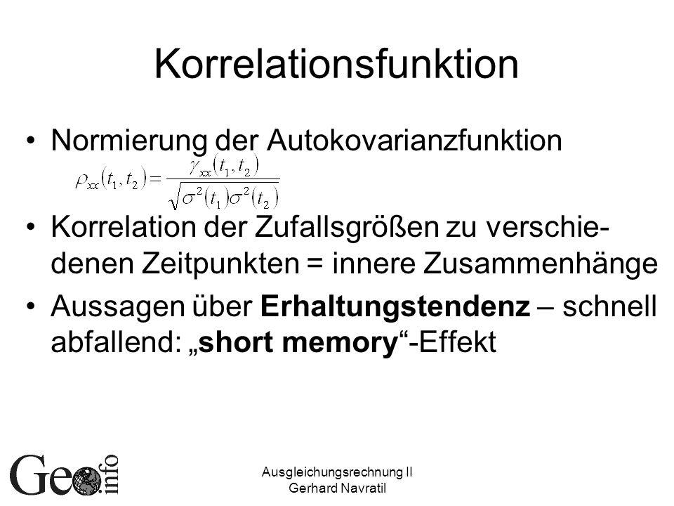 Ausgleichungsrechnung II Gerhard Navratil Korrelationsfunktion Normierung der Autokovarianzfunktion Korrelation der Zufallsgrößen zu verschie- denen Z