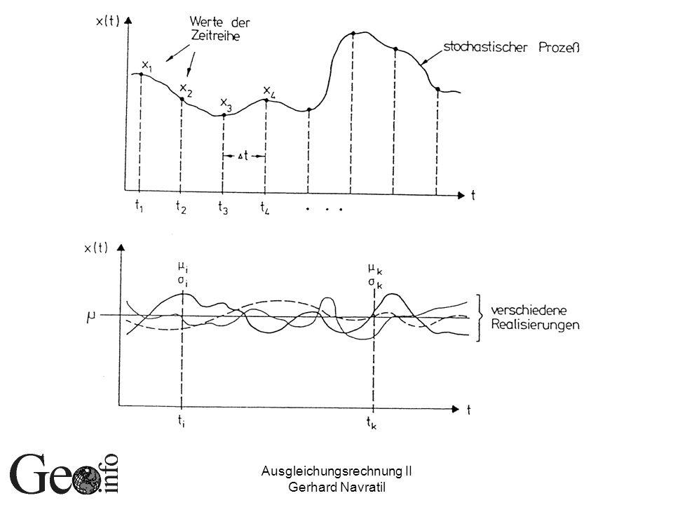 Ausgleichungsrechnung II Gerhard Navratil Stochastische Prozesse (2) Sind theoretische Größen ähnlich Grundgesamtheit Können zu jedem Zeitpunkt unendlich viele Werte annehmen Zu jedem Zeitpunkt kann nur eine endliche Menge davon beobachtet werden Stichprobe = Zeitreihe Registrierte Messungen bilden Funktion des Parameters t – eine Realisierung
