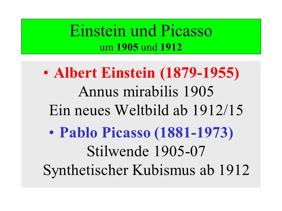 Einstein und Picasso um 1905 und 1912 Albert Einstein (1879-1955) Annus mirabilis 1905 Ein neues Weltbild ab 1912/15 Pablo Picasso (1881-1973) Stilwen