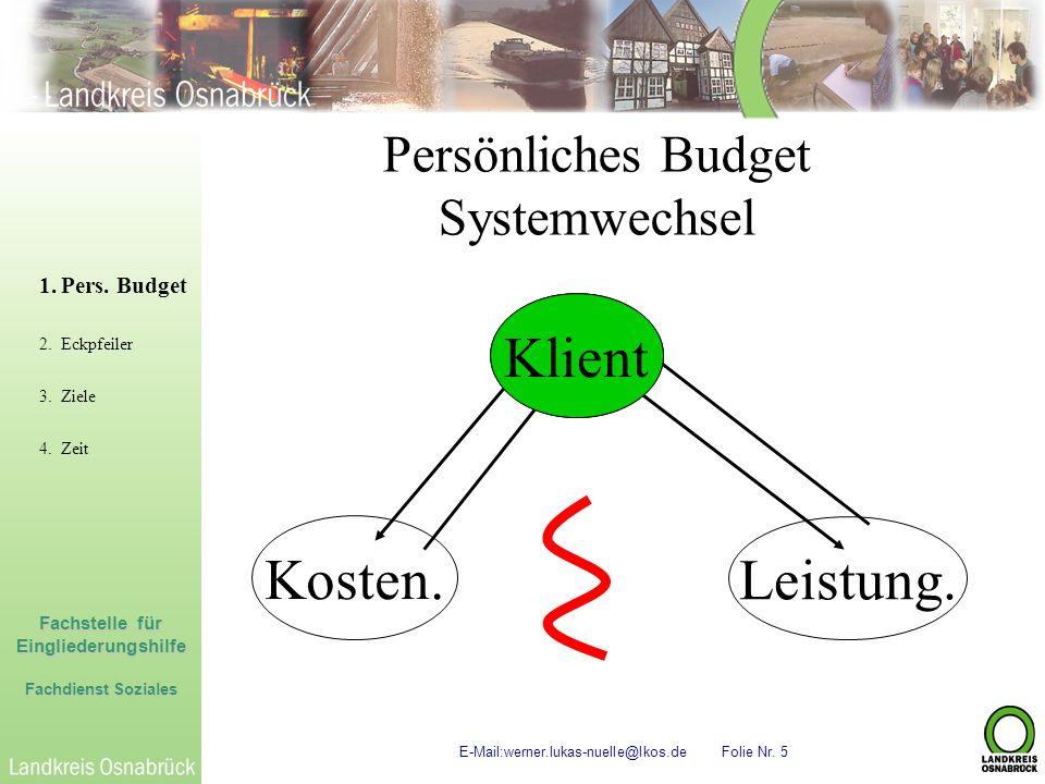 Fachstelle für Eingliederungshilfe Fachdienst Soziales E-Mail:werner.lukas-nuelle@lkos.de Folie Nr. 5 Persönliches Budget Systemwechsel 1.Pers. Budget