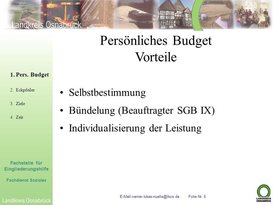 Fachstelle für Eingliederungshilfe Fachdienst Soziales E-Mail:werner.lukas-nuelle@lkos.de Folie Nr. 6 Persönliches Budget Vorteile 1.Pers. Budget 2.Ec