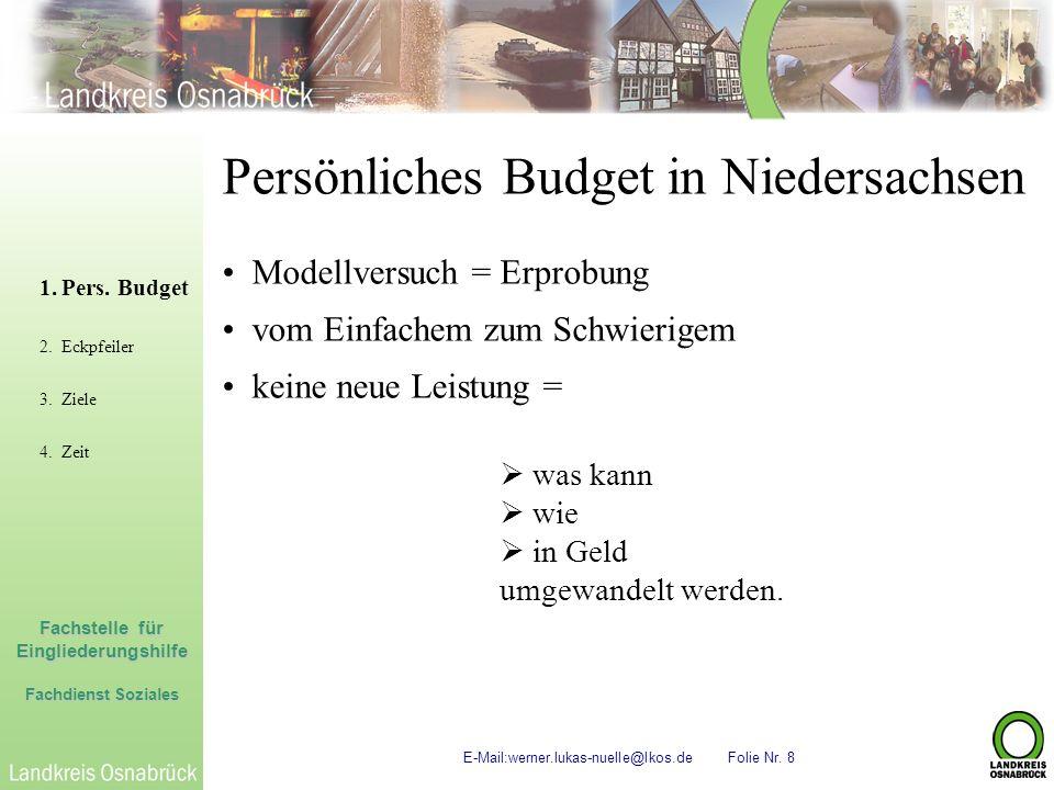 Fachstelle für Eingliederungshilfe Fachdienst Soziales E-Mail:werner.lukas-nuelle@lkos.de Folie Nr. 8 Persönliches Budget in Niedersachsen Modellversu