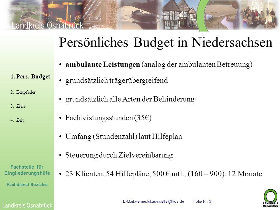 Fachstelle für Eingliederungshilfe Fachdienst Soziales E-Mail:werner.lukas-nuelle@lkos.de Folie Nr. 9 Persönliches Budget in Niedersachsen ambulante L