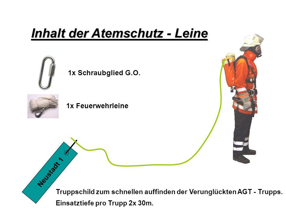 1x Schraubglied G.O. 1x Feuerwehrleine Inhalt der Atemschutz - Leine Truppschild zum schnellen auffinden der Verunglückten AGT - Trupps. Einsatztiefe
