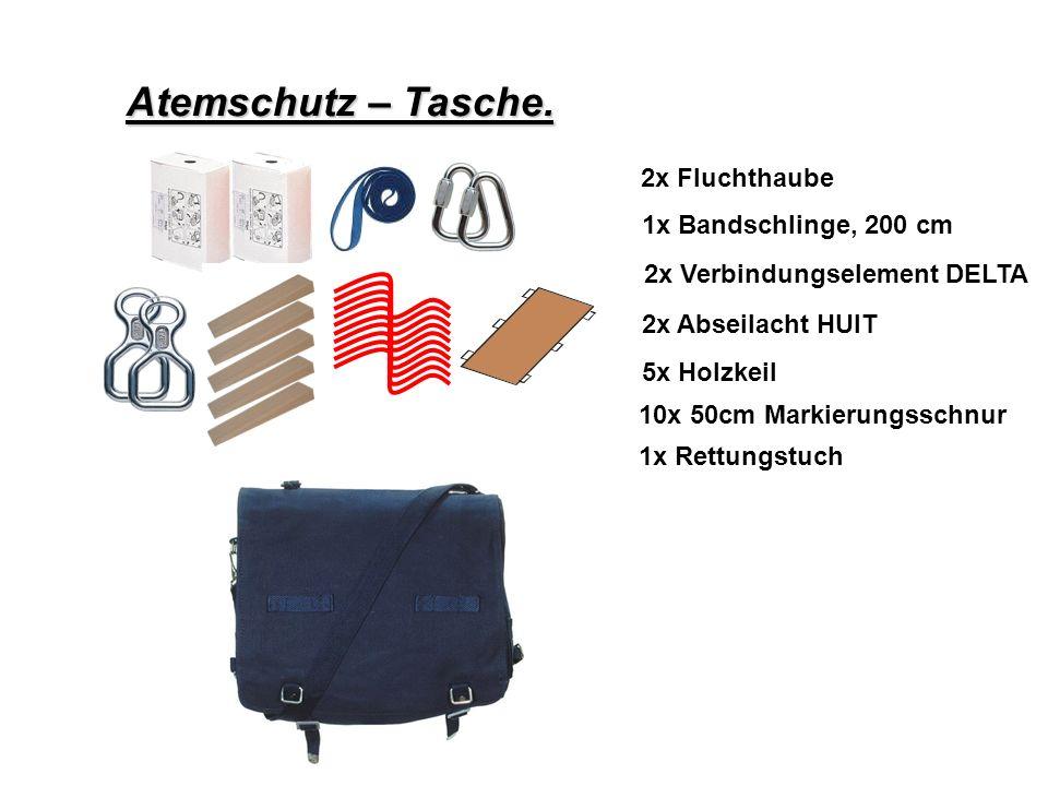 Atemschutz – Tasche. 2x Fluchthaube 1x Bandschlinge, 200 cm 2x Verbindungselement DELTA 2x Abseilacht HUIT 5x Holzkeil 10x 50cm Markierungsschnur 1x R