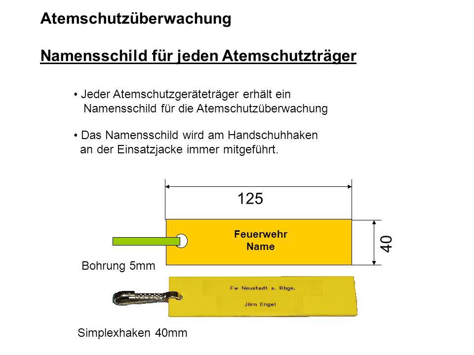 Atemschutzüberwachung Jeder Atemschutzgeräteträger erhält ein Namensschild für die Atemschutzüberwachung Das Namensschild wird am Handschuhhaken an de
