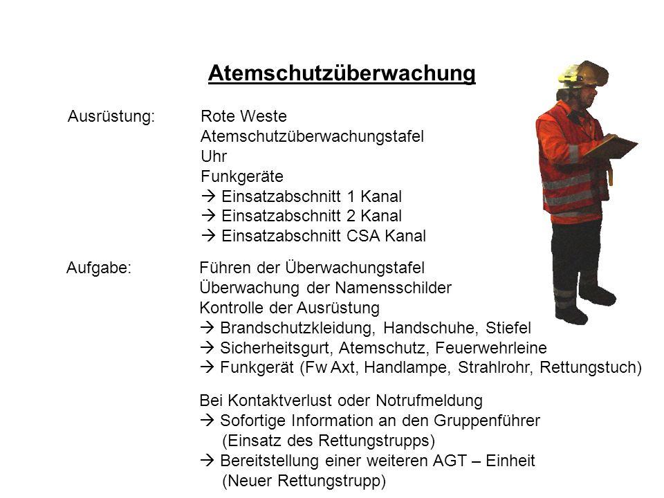 Atemschutzüberwachung Ausrüstung:Rote Weste Atemschutzüberwachungstafel Uhr Funkgeräte Einsatzabschnitt 1 Kanal Einsatzabschnitt 2 Kanal Einsatzabschn