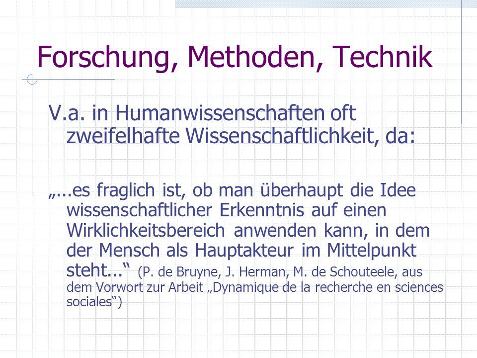 Forschung, Methoden, Technik V.a. in Humanwissenschaften oft zweifelhafte Wissenschaftlichkeit, da:...es fraglich ist, ob man überhaupt die Idee wisse