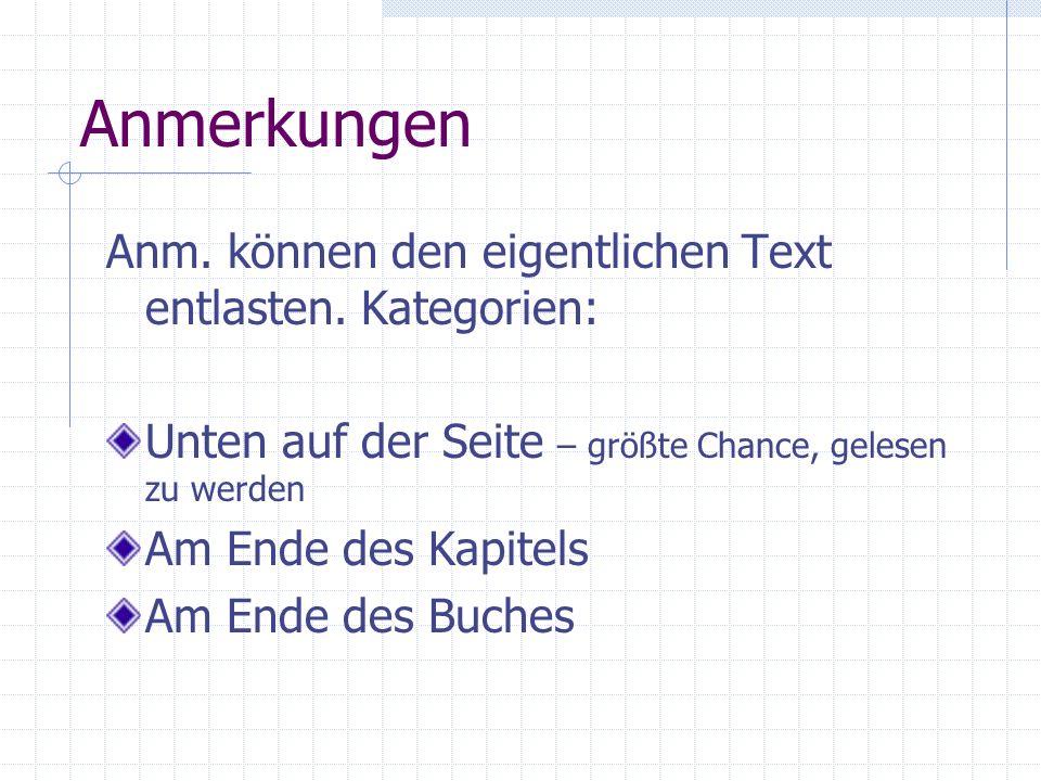 Anmerkungen Anm. können den eigentlichen Text entlasten. Kategorien: Unten auf der Seite – größte Chance, gelesen zu werden Am Ende des Kapitels Am En