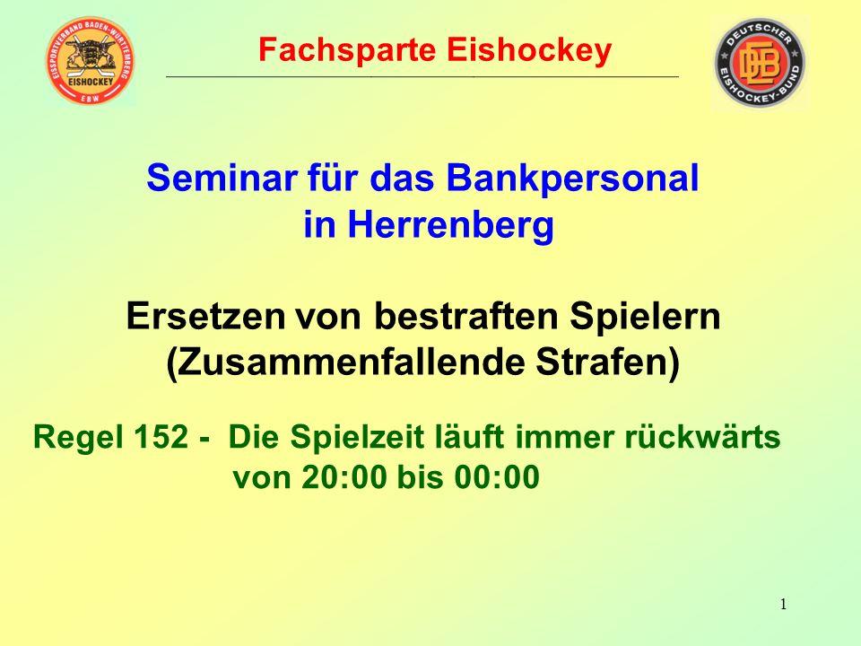 1 Fachsparte Eishockey Seminar für das Bankpersonal in Herrenberg Ersetzen von bestraften Spielern (Zusammenfallende Strafen) Regel 152 - Die Spielzeit läuft immer rückwärts von 20:00 bis 00:00