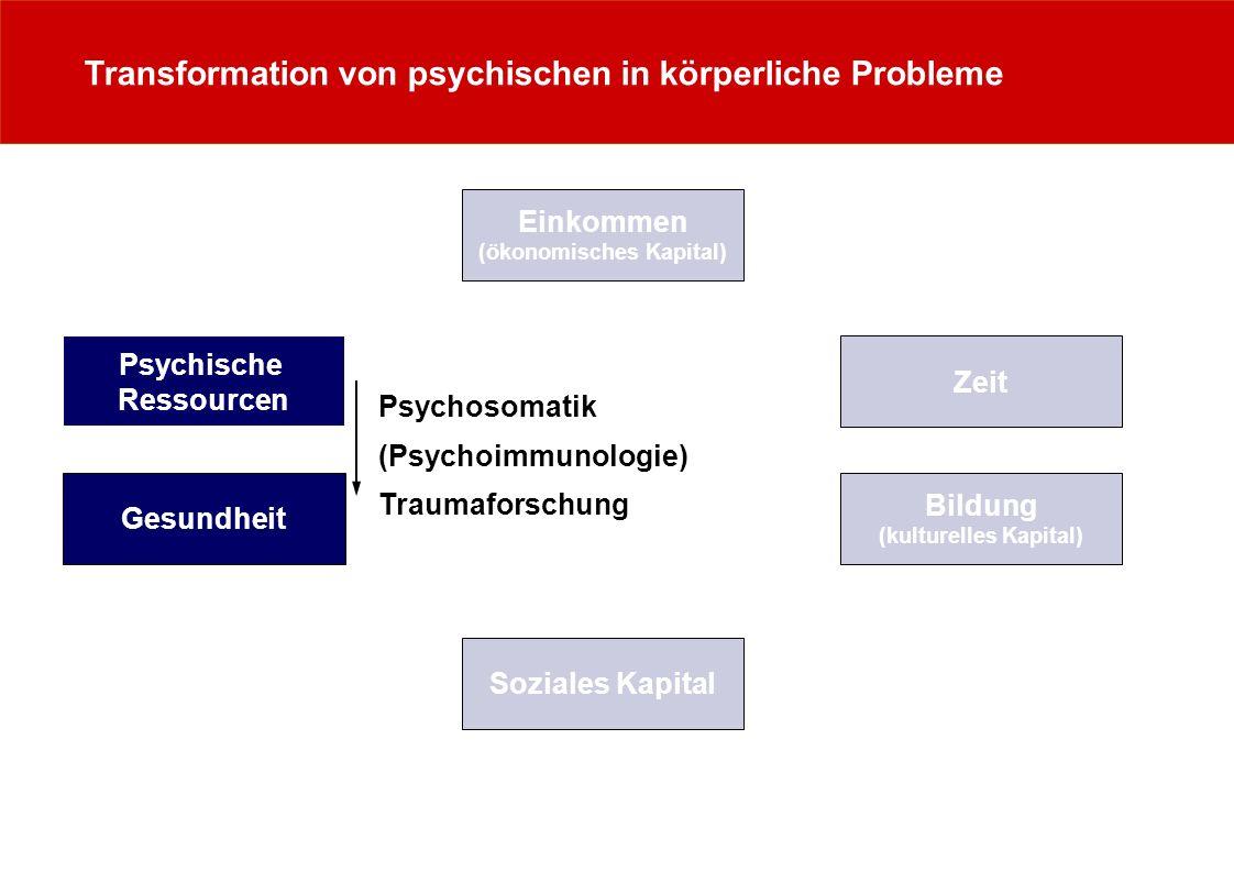 Transformation von psychischen in körperliche Probleme Zeit Psychische Ressourcen Einkommen (ökonomisches Kapital) Gesundheit Bildung (kulturelles Kap
