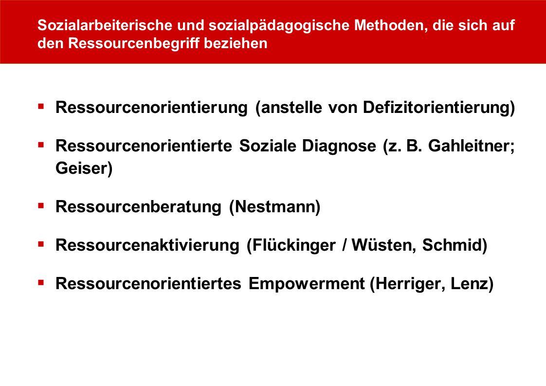 Sozialarbeiterische und sozialpädagogische Methoden, die sich auf den Ressourcenbegriff beziehen Ressourcenorientierung (anstelle von Defizitorientier