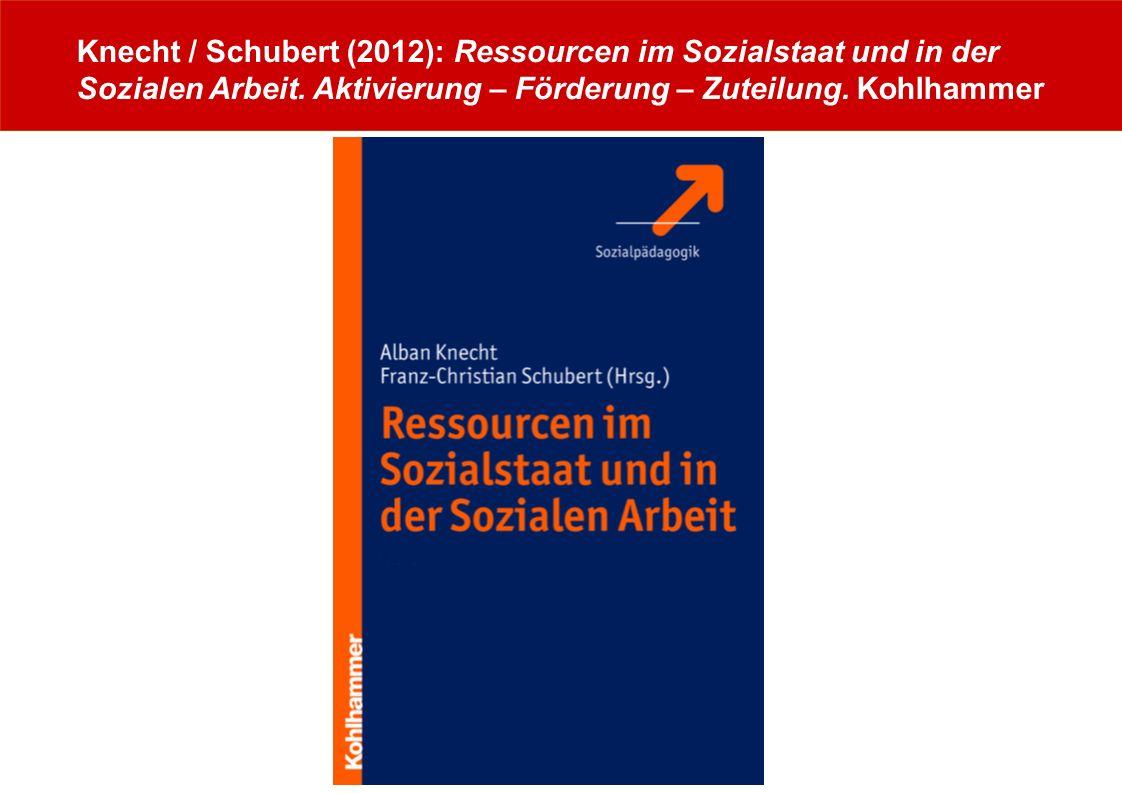 www.albanknecht.de Knecht / Schubert (2012): Ressourcen im Sozialstaat und in der Sozialen Arbeit. Aktivierung – Förderung – Zuteilung. Kohlhammer