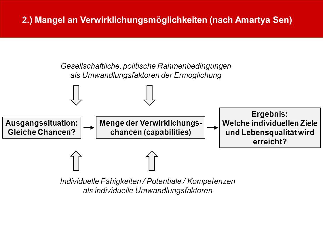 2.) Mangel an Verwirklichungsmöglichkeiten (nach Amartya Sen) Menge der Verwirklichungs- chancen (capabilities) Ergebnis: Welche individuellen Ziele u