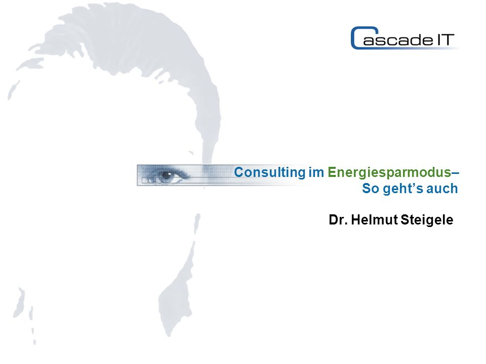 Consulting im Energiesparmodus– So gehts auch Dr. Helmut Steigele