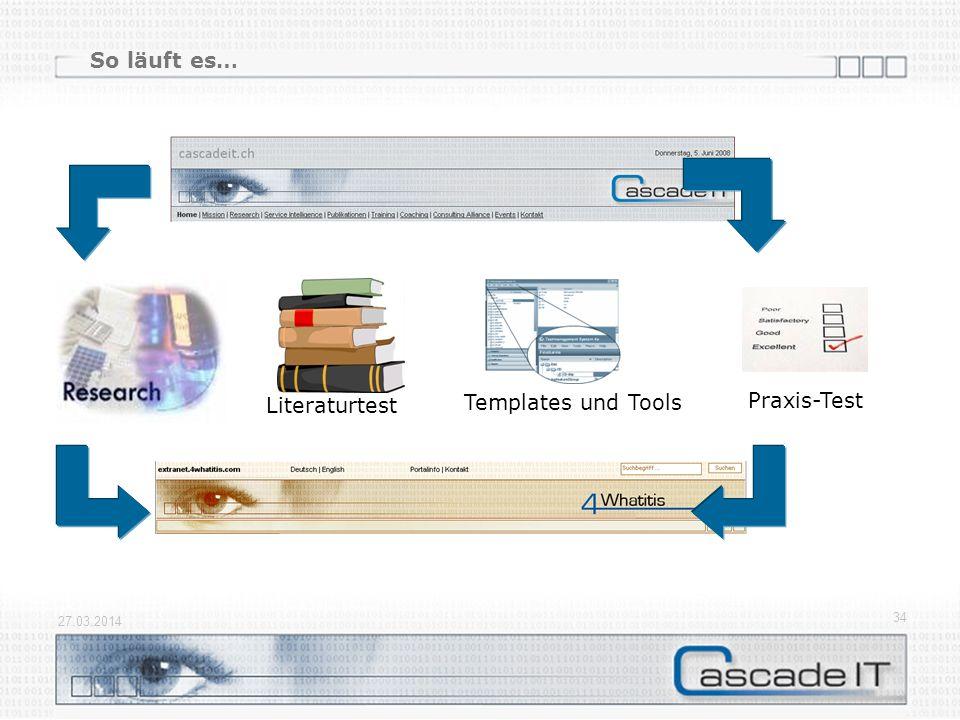 27.03.2014 34 So läuft es… Praxis-Test Literaturtest Templates und Tools