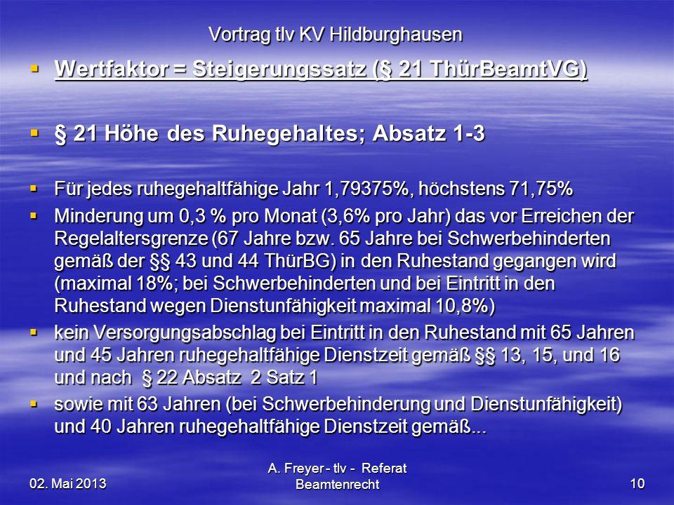 02. Mai 2013 A. Freyer - tlv - Referat Beamtenrecht10 Vortrag tlv KV Hildburghausen Wertfaktor = Steigerungssatz (§ 21 ThürBeamtVG) Wertfaktor = Steig