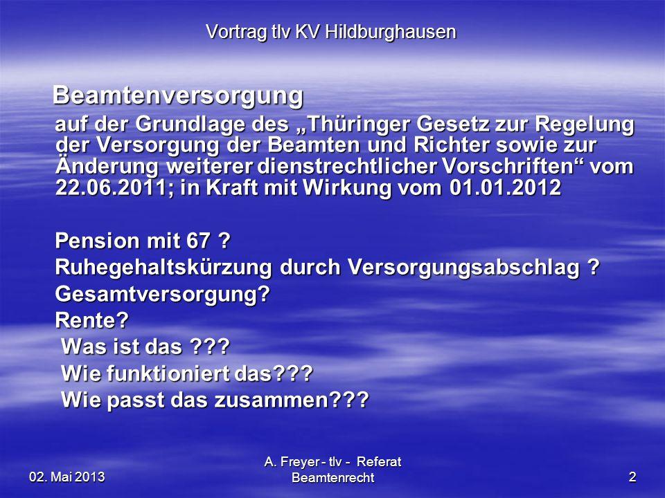 02. Mai 2013 A. Freyer - tlv - Referat Beamtenrecht2 Vortrag tlv KV Hildburghausen Beamtenversorgung Beamtenversorgung auf der Grundlage des Thüringer