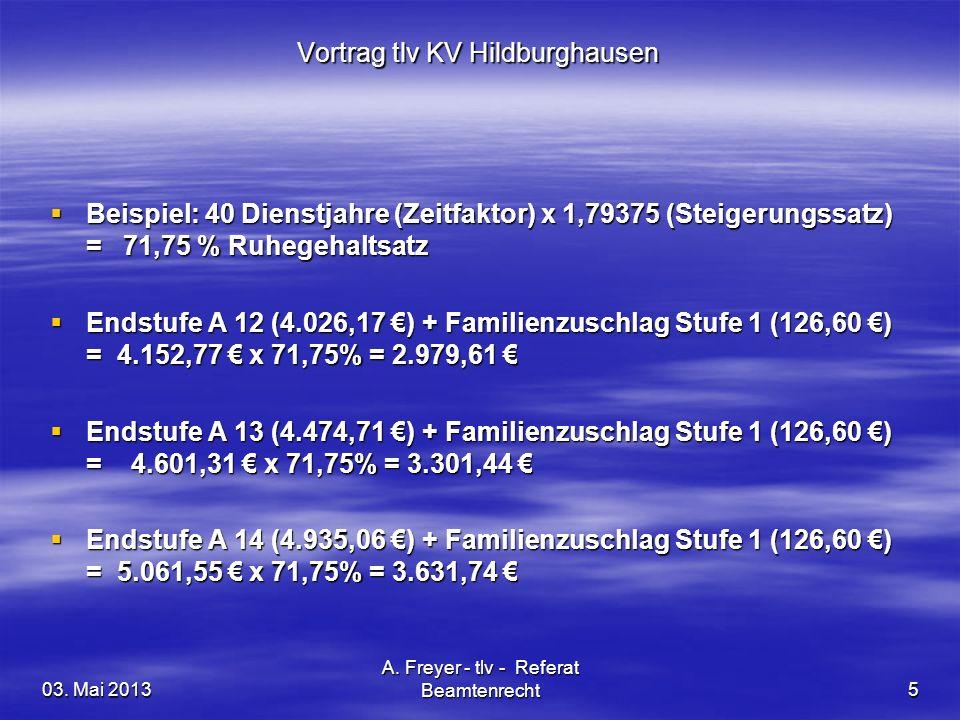 03. Mai 2013 A. Freyer - tlv - Referat Beamtenrecht5 Vortrag tlv KV Hildburghausen Beispiel: 40 Dienstjahre (Zeitfaktor) x 1,79375 (Steigerungssatz) =