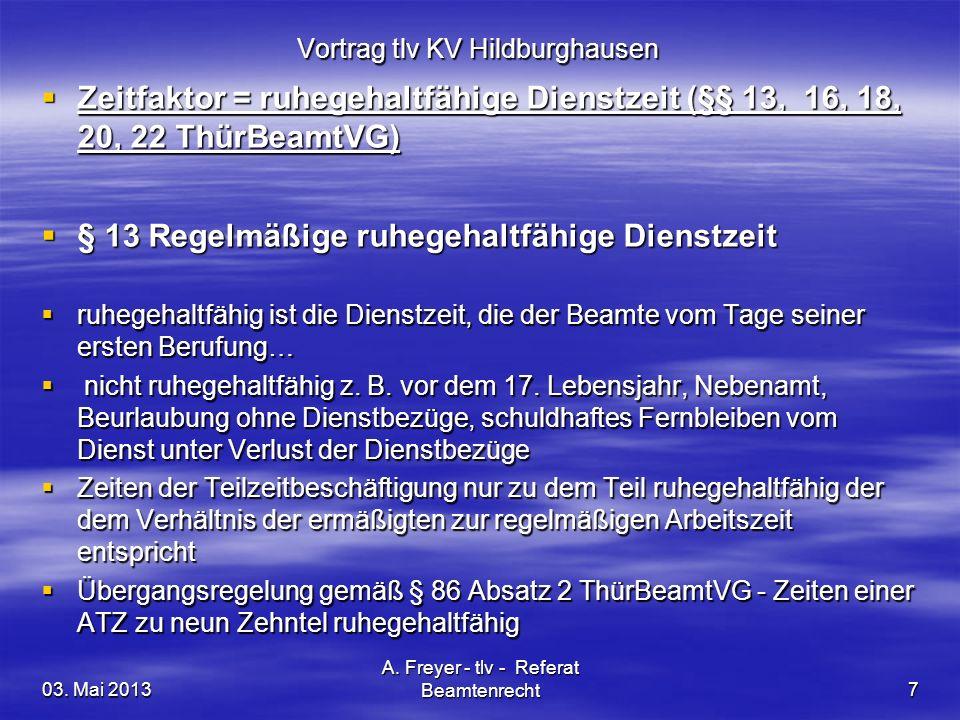 03. Mai 2013 A. Freyer - tlv - Referat Beamtenrecht7 Vortrag tlv KV Hildburghausen Zeitfaktor = ruhegehaltfähige Dienstzeit (§§ 13, 16, 18, 20, 22 Thü