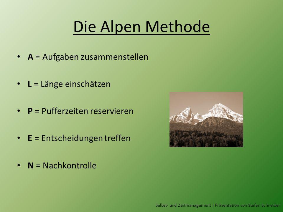 Die Alpen Methode Selbst- und Zeitmanagement | Präsentation von Stefan Schneider A = Aufgaben zusammenstellen L = Länge einschätzen P = Pufferzeiten reservieren E = Entscheidungen treffen N = Nachkontrolle