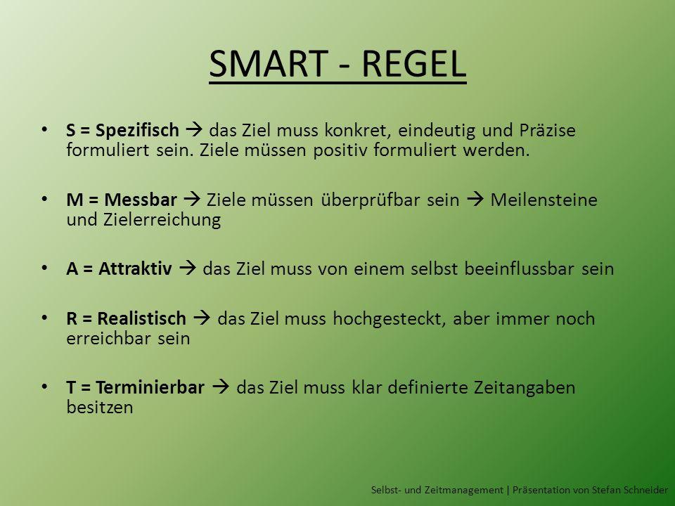SMART - REGEL S = Spezifisch das Ziel muss konkret, eindeutig und Präzise formuliert sein. Ziele müssen positiv formuliert werden. M = Messbar Ziele m