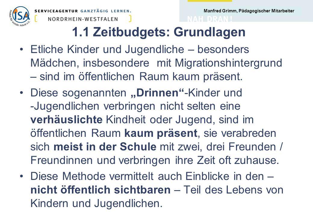 Manfred Grimm, Pädagogischer Mitarbeiter 1.1 Zeitbudgets: Grundlagen Etliche Kinder und Jugendliche – besonders Mädchen, insbesondere mit Migrationshintergrund – sind im öffentlichen Raum kaum präsent.