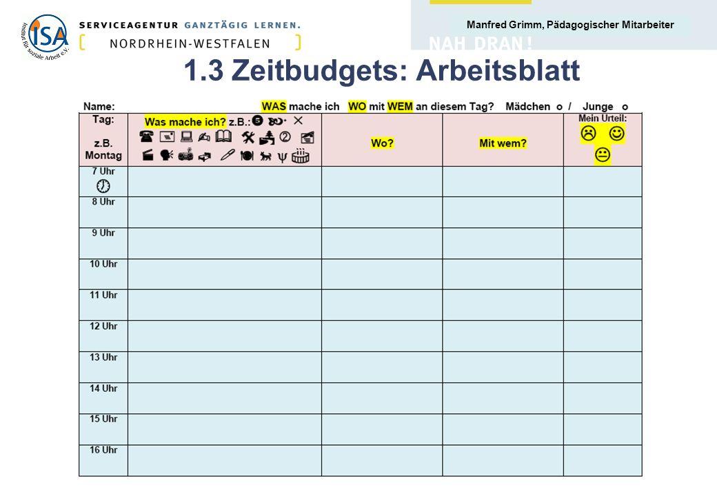 Manfred Grimm, Pädagogischer Mitarbeiter 1.3 Zeitbudgets: Arbeitsblatt