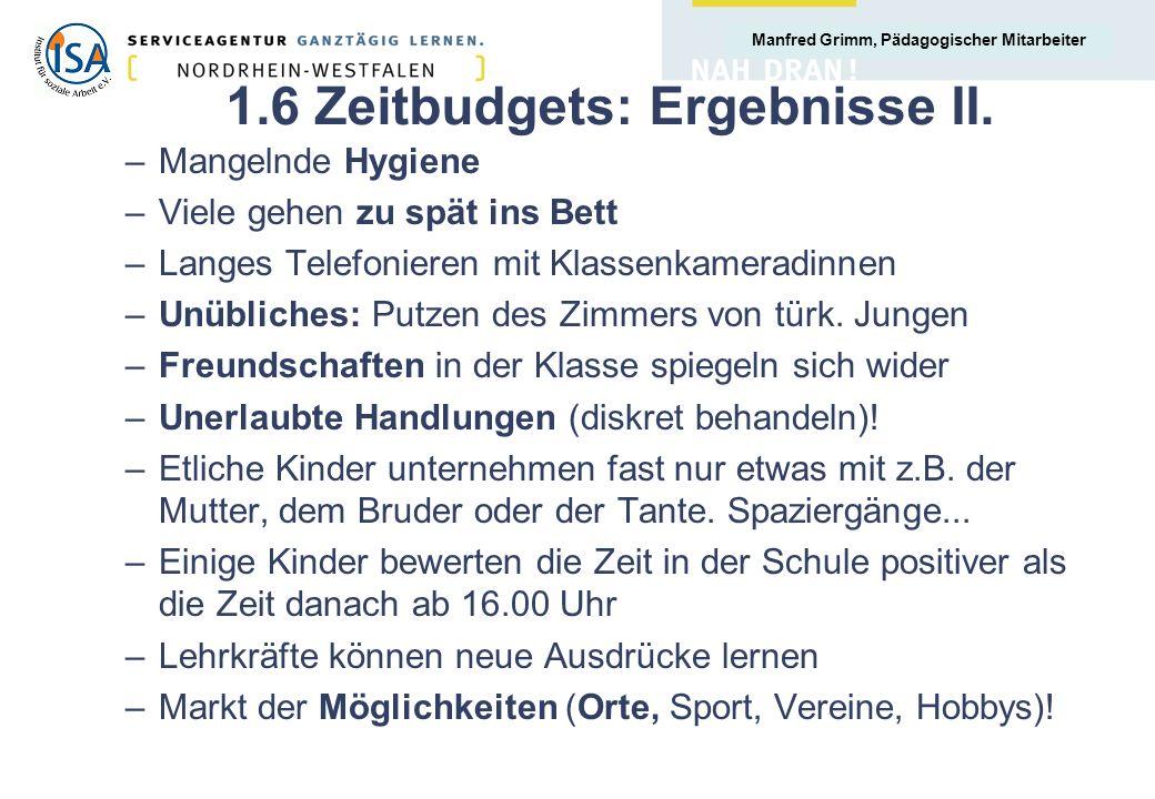 Manfred Grimm, Pädagogischer Mitarbeiter 1.6 Zeitbudgets: Ergebnisse II.