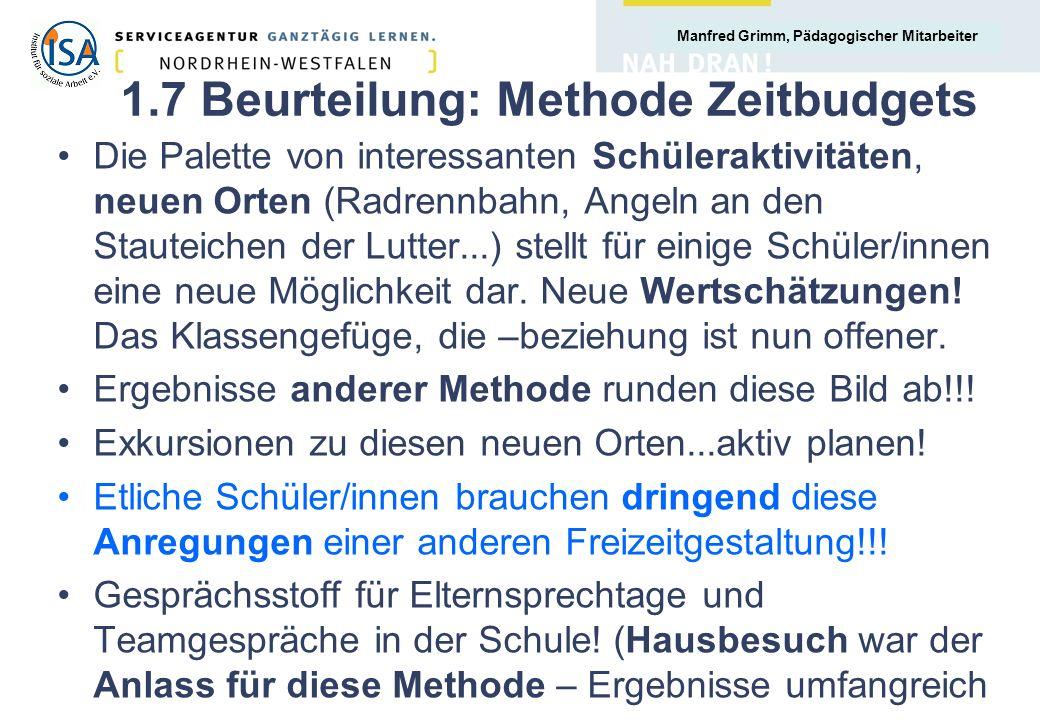 Manfred Grimm, Pädagogischer Mitarbeiter Vielen Dank für Ihre Aufmerksamkeit