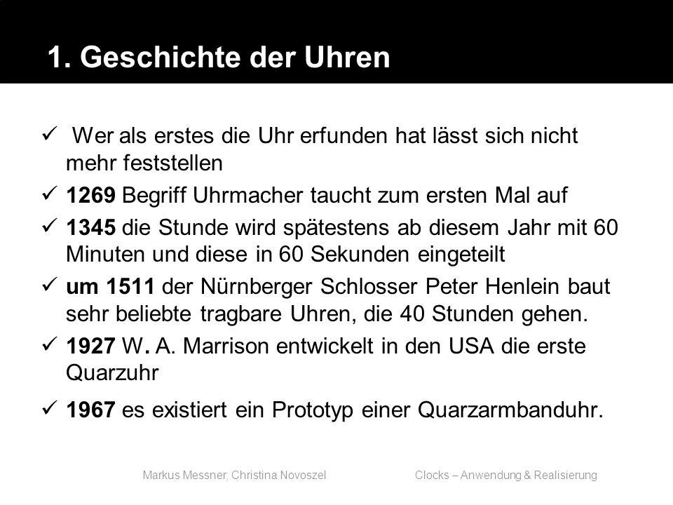 Markus Messner, Christina Novoszel Clocks – Anwendung & Realisierung Kommando date: benutzt die System Calls time und stime zum Lesen und Setzen In beiden Fällen werden die Sekunden seit 1970- 01-01 00:00:00 UTC als 32-bit Integer dargestellt.