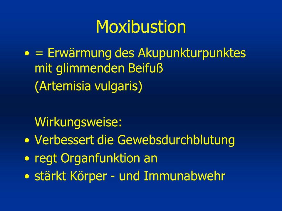 = Erwärmung des Akupunkturpunktes mit glimmenden Beifuß (Artemisia vulgaris) Wirkungsweise: Verbessert die Gewebsdurchblutung regt Organfunktion an st