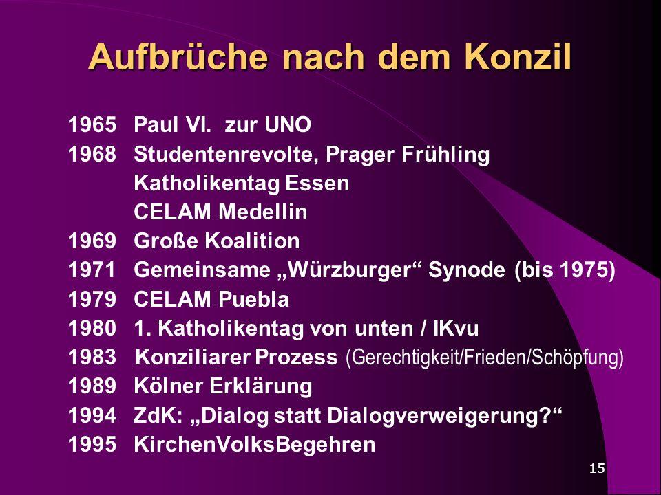 15 Aufbrüche nach dem Konzil 1965Paul VI. zur UNO 1968 Studentenrevolte, Prager Frühling Katholikentag Essen CELAM Medellin 1969 Große Koalition 1971G