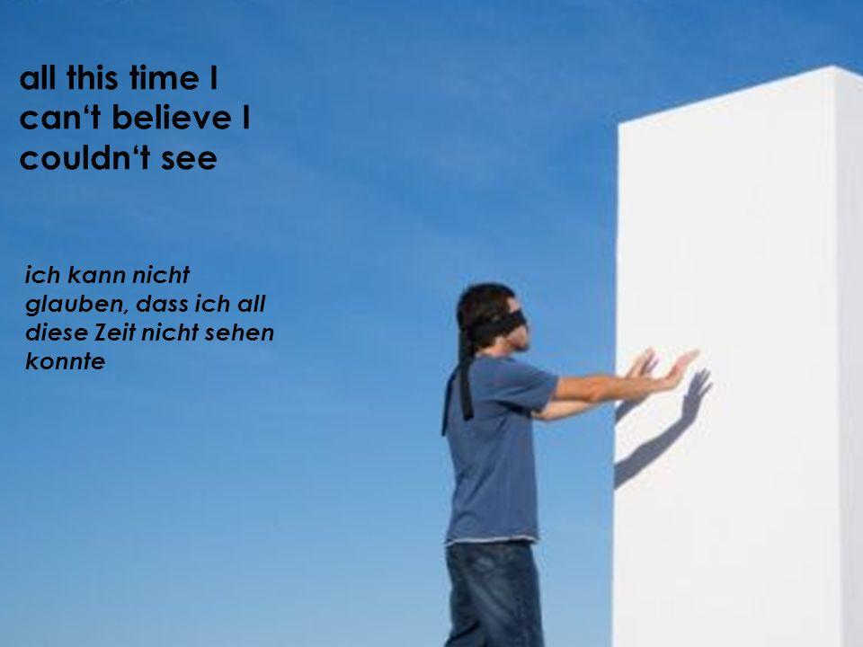 ich kann nicht glauben, dass ich all diese Zeit nicht sehen konnte all this time I cant believe I couldnt see