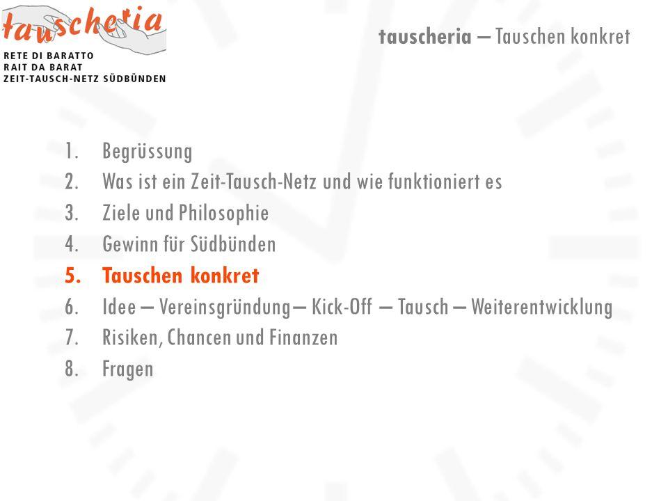 1.Begrüssung 2.Was ist ein Zeit-Tausch-Netz und wie funktioniert es 3.Ziele und Philosophie 4.Gewinn für Südbünden 5.Tauschen konkret 6.Idee – Vereinsgründung – Kick-Off – Tausch – Weiterentwicklung 7.Risiken, Chancen und Finanzen 8.Fragen tauscheria – Tauschen konkret