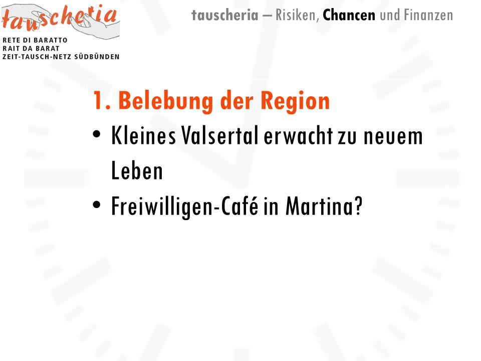 1. Belebung der Region Kleines Valsertal erwacht zu neuem Leben Freiwilligen-Café in Martina.
