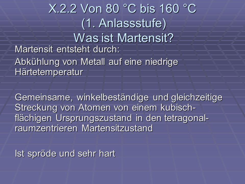 X.2.2 Von 80 °C bis 160 °C (1. Anlassstufe) Was ist Martensit? Martensit entsteht durch: Abkühlung von Metall auf eine niedrige Härtetemperatur Gemein