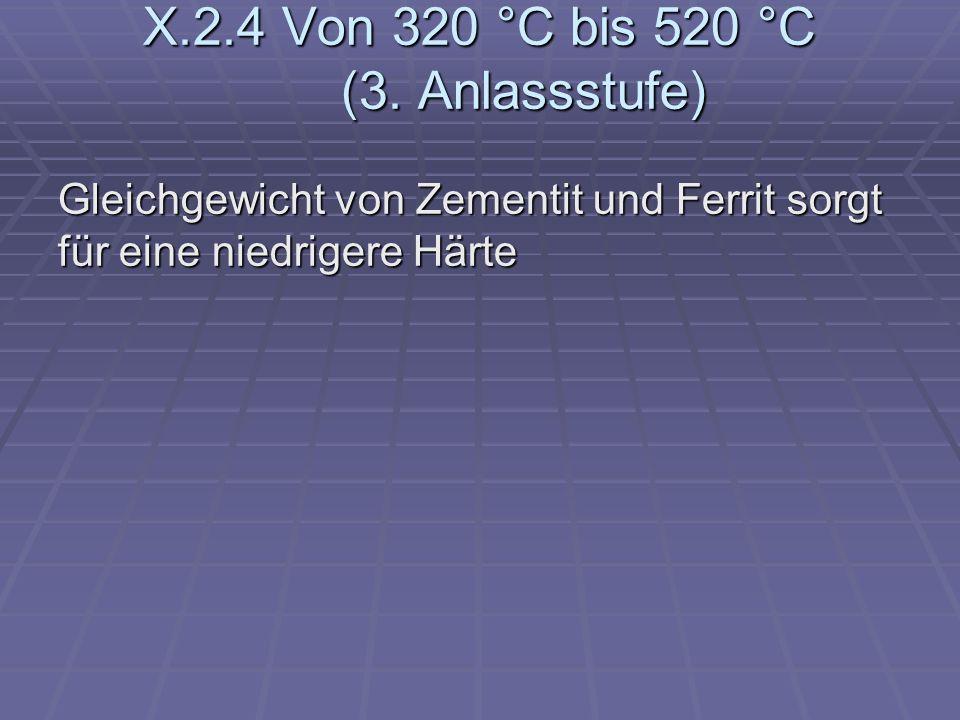 X.2.4 Von 320 °C bis 520 °C (3. Anlassstufe) Gleichgewicht von Zementit und Ferrit sorgt für eine niedrigere Härte