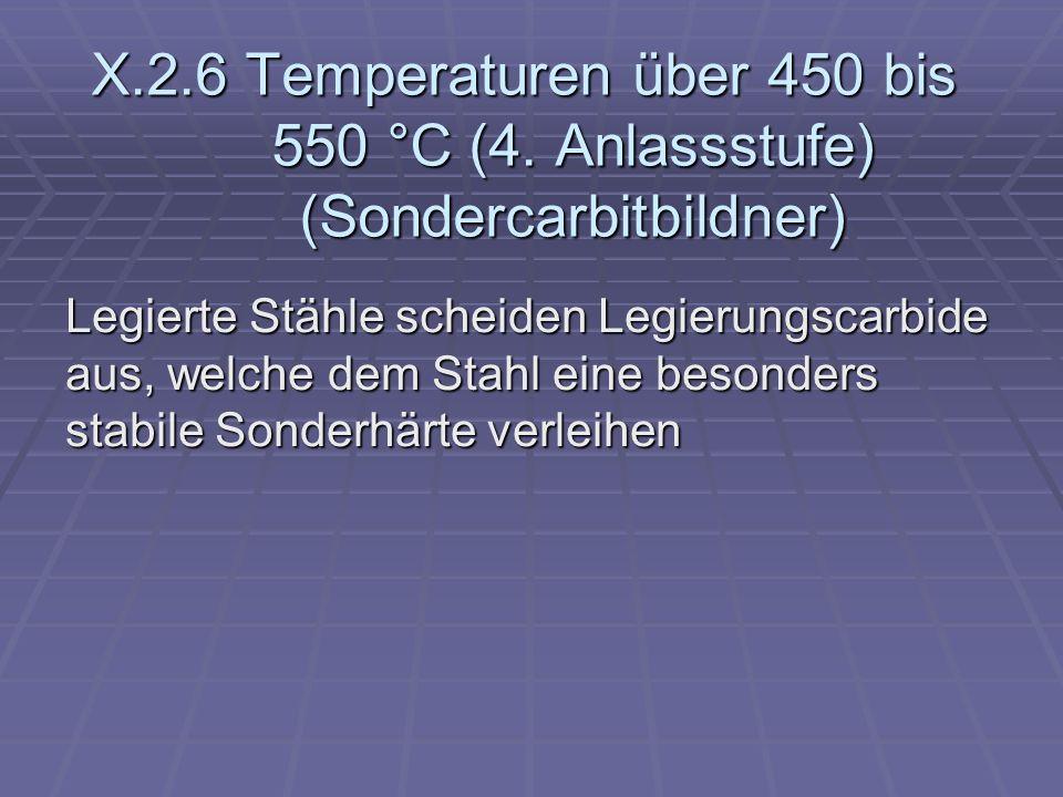 X.2.6 Temperaturen über 450 bis 550 °C (4. Anlassstufe) (Sondercarbitbildner) Legierte Stähle scheiden Legierungscarbide aus, welche dem Stahl eine be
