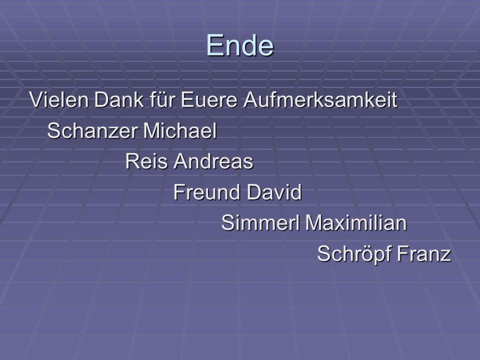 Ende Vielen Dank für Euere Aufmerksamkeit Schanzer Michael Reis Andreas Freund David Simmerl Maximilian Schröpf Franz