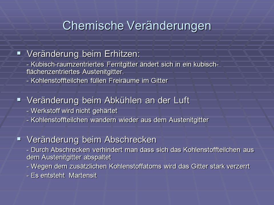 Chemische Veränderungen Veränderung beim Erhitzen: Veränderung beim Erhitzen: - Kubisch-raumzentriertes Ferritgitter ändert sich in ein kubisch- fläch