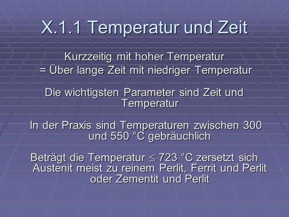 X.1.1 Temperatur und Zeit Kurzzeitig mit hoher Temperatur = Über lange Zeit mit niedriger Temperatur = Über lange Zeit mit niedriger Temperatur Die wi