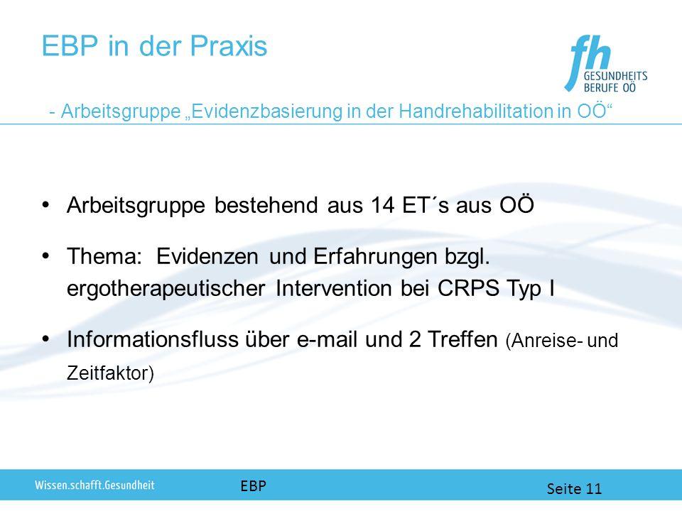 EBP in der Praxis - Arbeitsgruppe Evidenzbasierung in der Handrehabilitation in OÖ Arbeitsgruppe bestehend aus 14 ET´s aus OÖ Thema: Evidenzen und Erfahrungen bzgl.