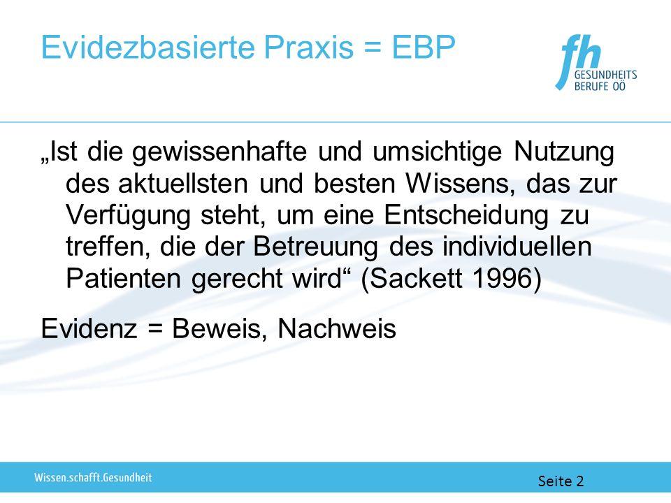 Evidezbasierte Praxis = EBP Ist die gewissenhafte und umsichtige Nutzung des aktuellsten und besten Wissens, das zur Verfügung steht, um eine Entscheidung zu treffen, die der Betreuung des individuellen Patienten gerecht wird (Sackett 1996) Evidenz = Beweis, Nachweis Seite 2