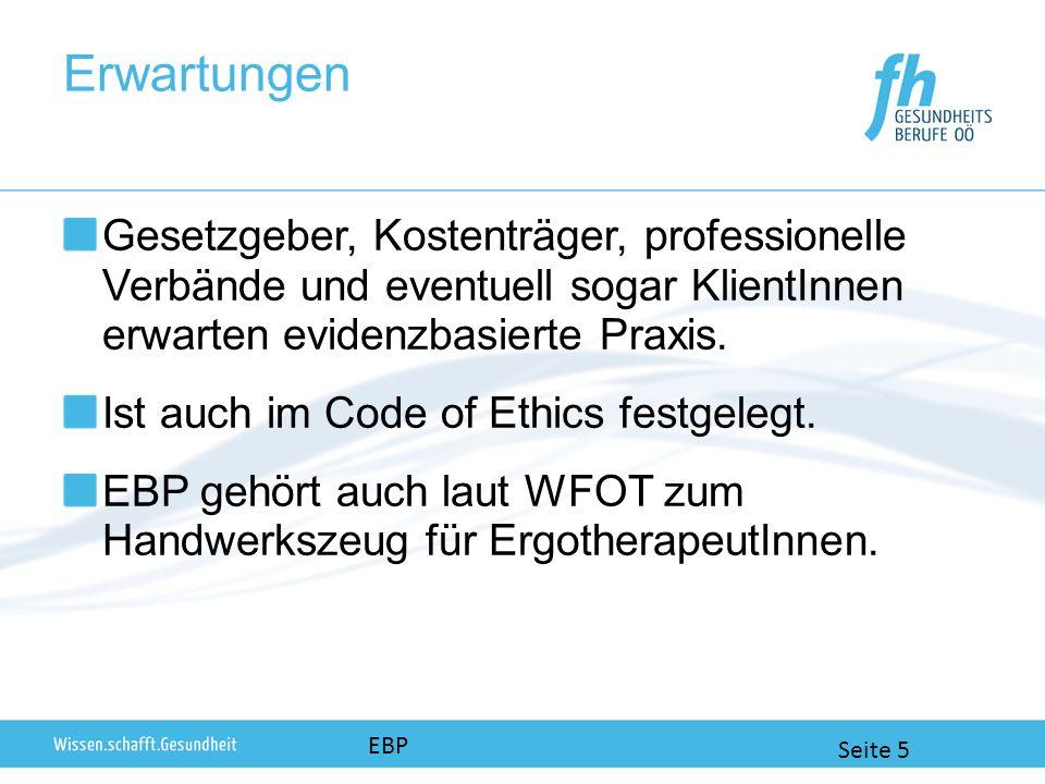 Erwartungen EBP Seite 5 Gesetzgeber, Kostenträger, professionelle Verbände und eventuell sogar KlientInnen erwarten evidenzbasierte Praxis.