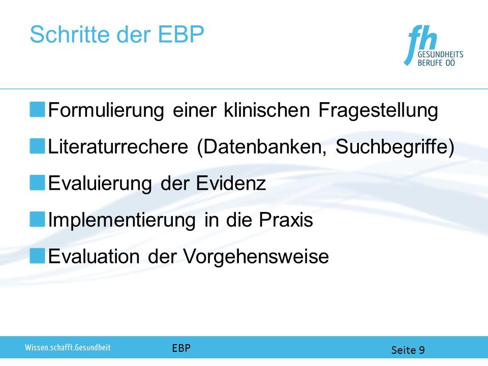 Schritte der EBP Formulierung einer klinischen Fragestellung Literaturrechere (Datenbanken, Suchbegriffe) Evaluierung der Evidenz Implementierung in die Praxis Evaluation der Vorgehensweise EBP Seite 9