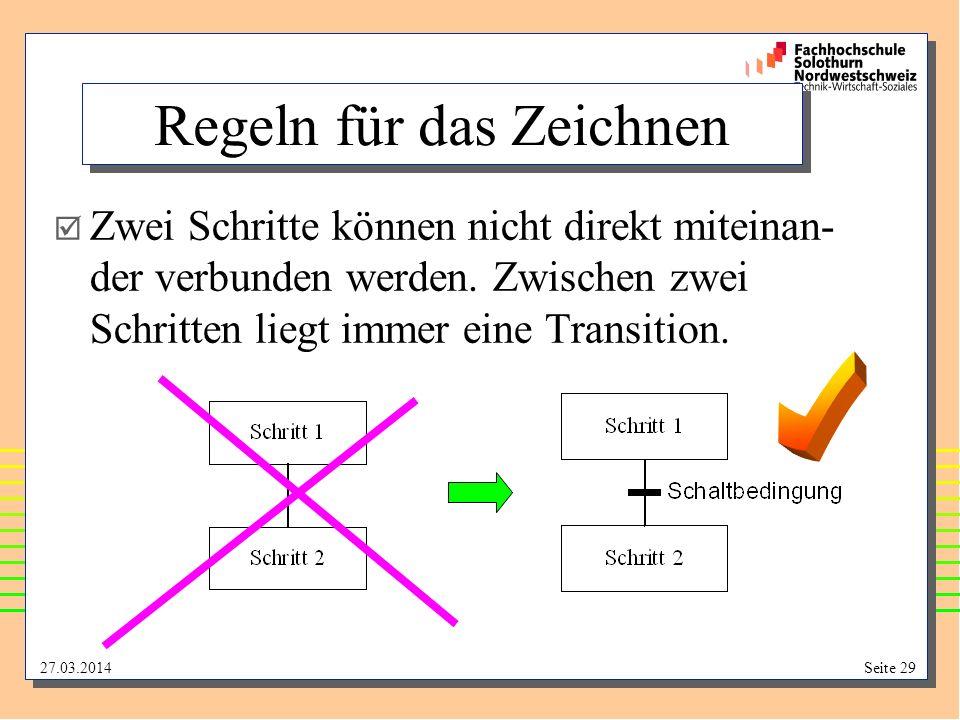 27.03.2014Seite 29 Regeln für das Zeichnen Zwei Schritte können nicht direkt miteinan- der verbunden werden. Zwischen zwei Schritten liegt immer eine